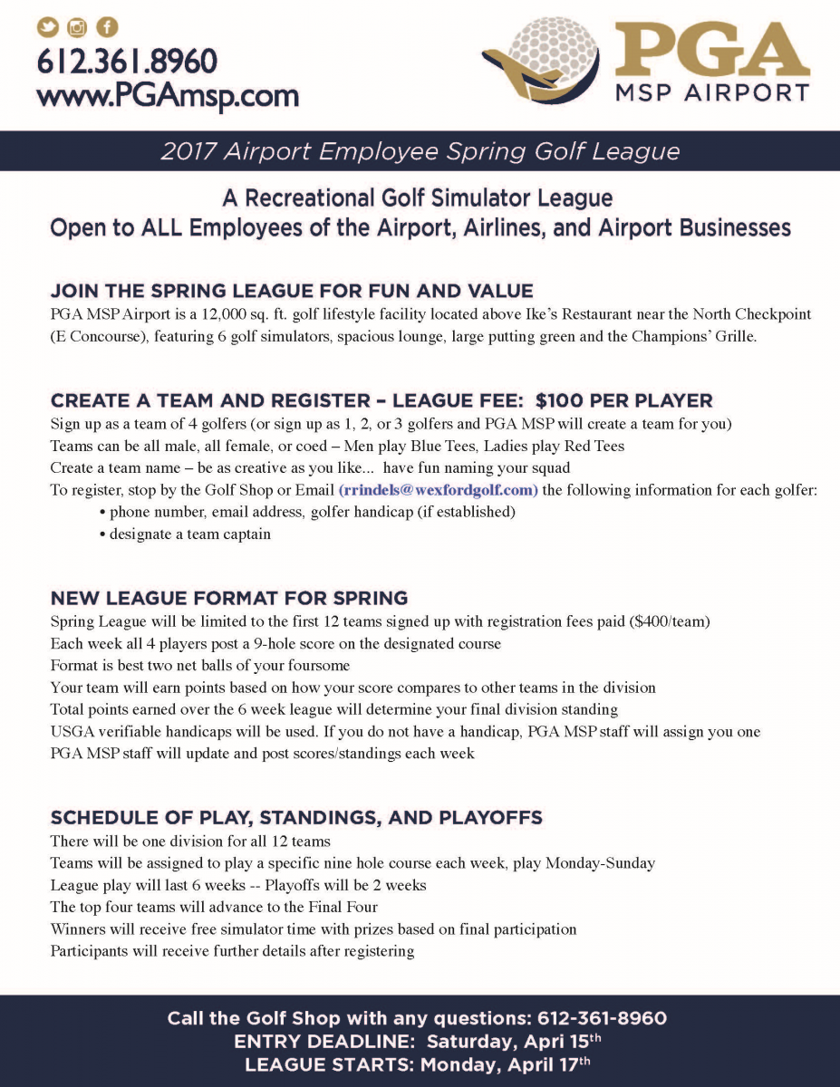 PGA MSP to host spring golf league for airport employees